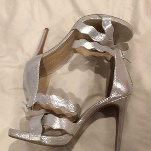 Worn once! Five inch silver heels